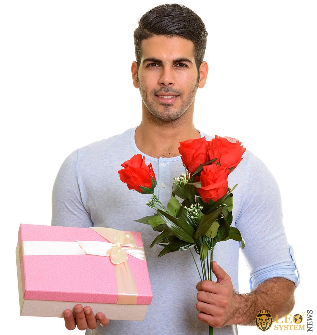 A man with flowers and a gift for his woman