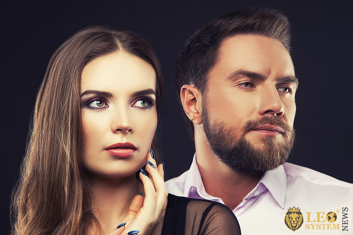 Image of a pensive man and woman