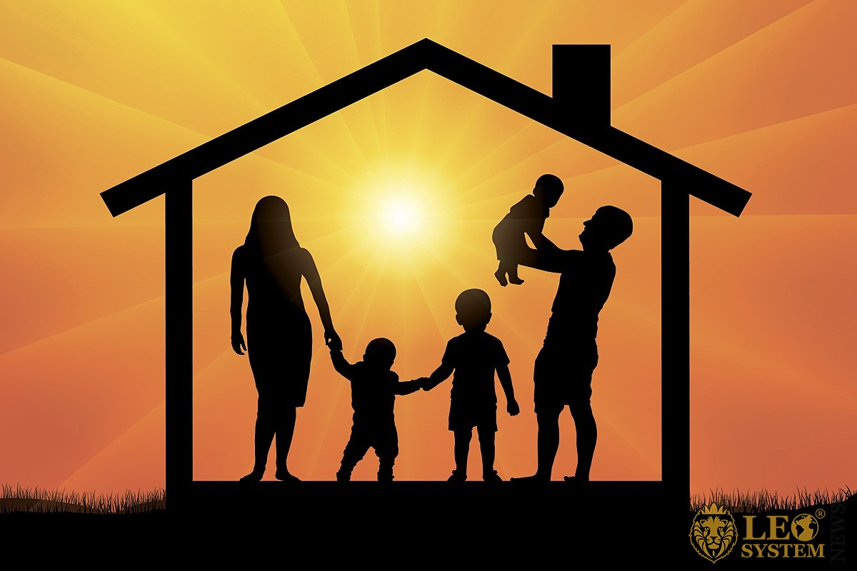 Image of a family on a sunset background