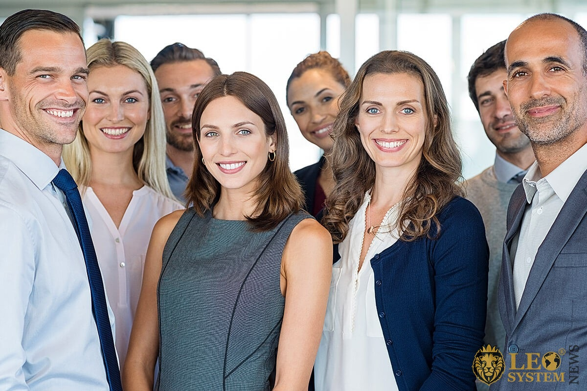 Image of a motivated group of people in the office