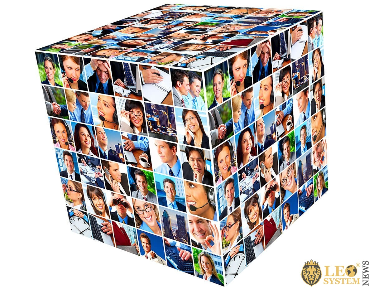 Image of a square with faces of different people from all over the world