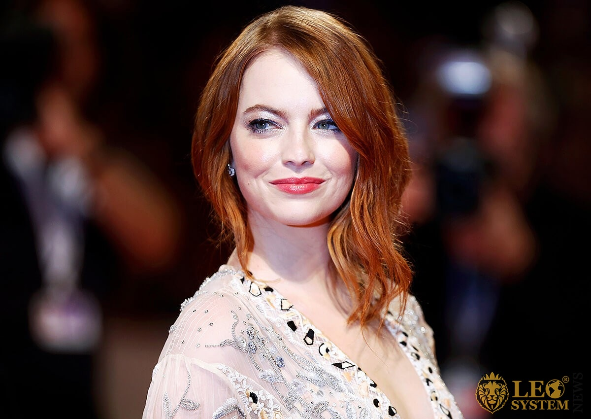 American actress Emma Stone with a smile
