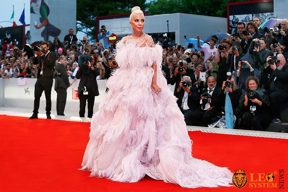 American singer Lady Gaga on the red carpet in a puffy pink dress