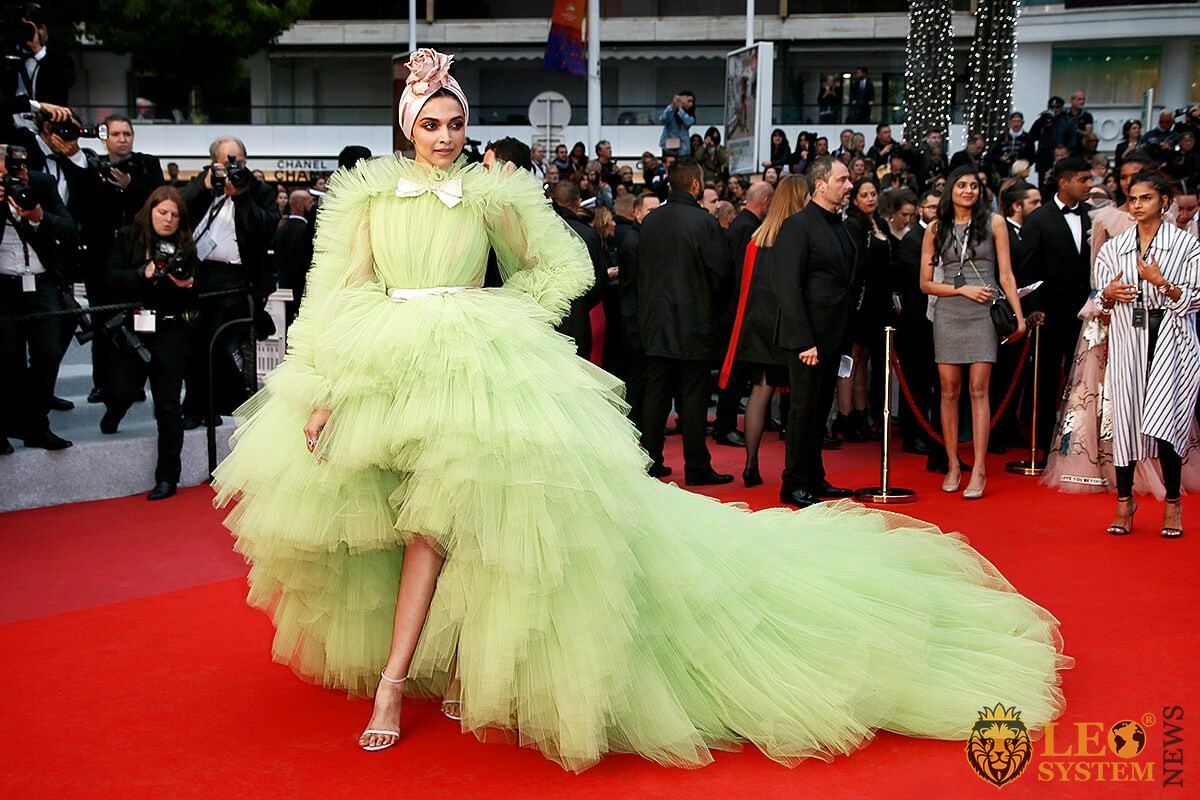Indian actress Deepika Padukone in a chic puffy dress on the red carpet