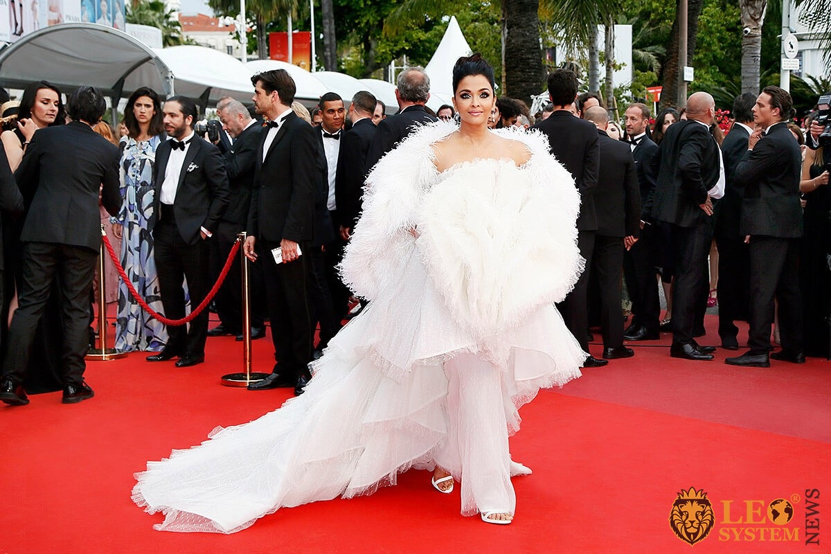 Actress Aishwarya Rai in a white puffy dress on the red carpet