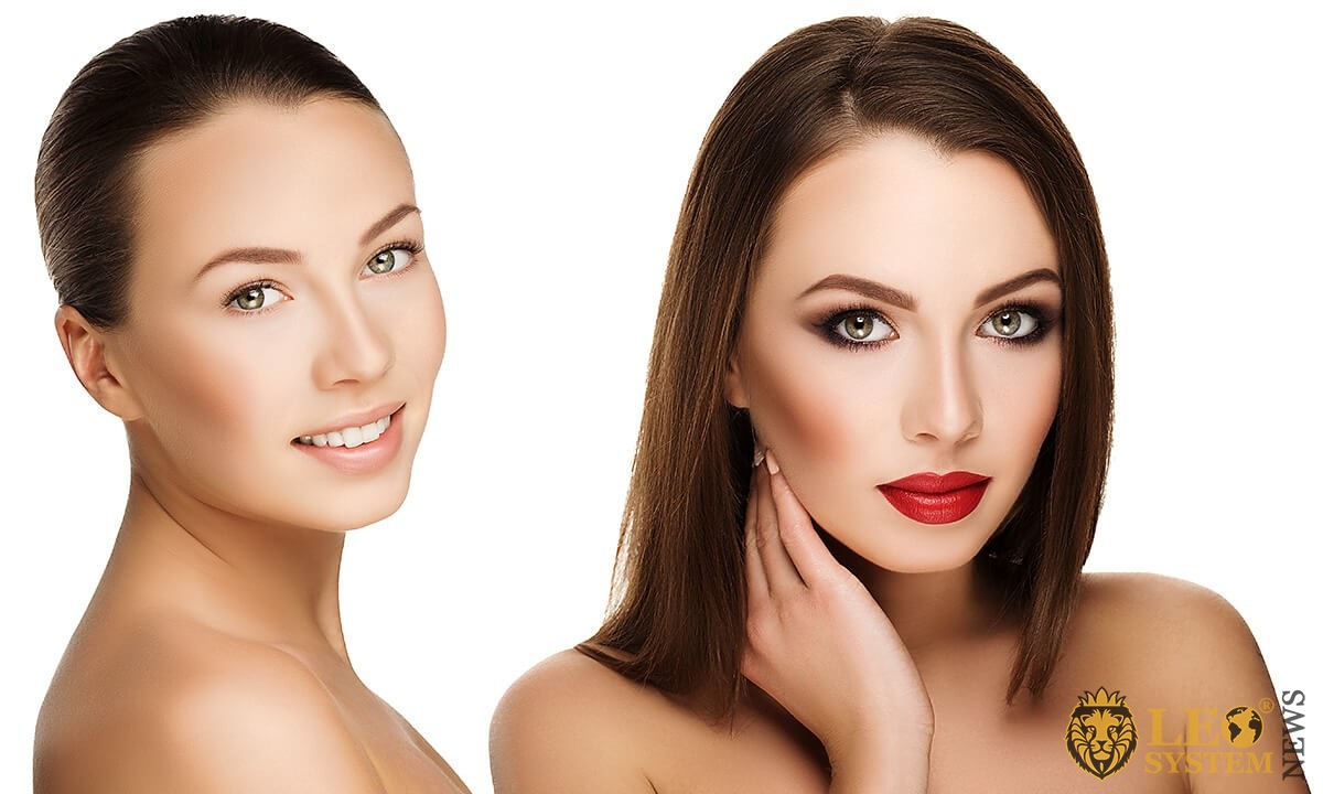 Image of a woman before and after makeup