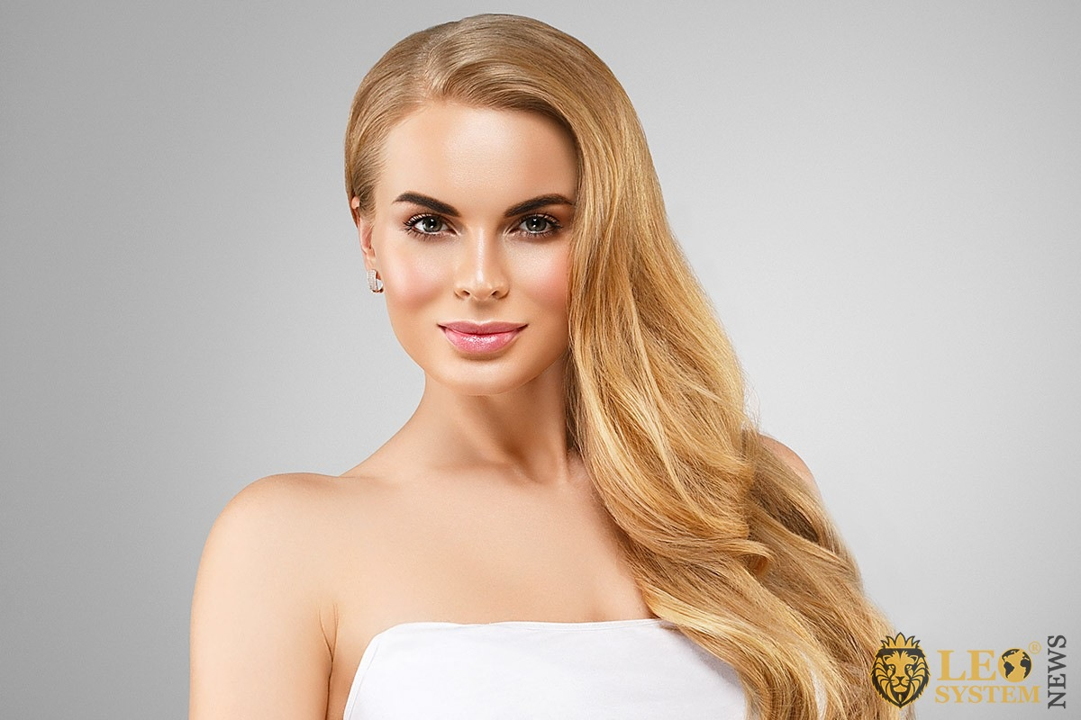 Beautiful woman with well-groomed face skin