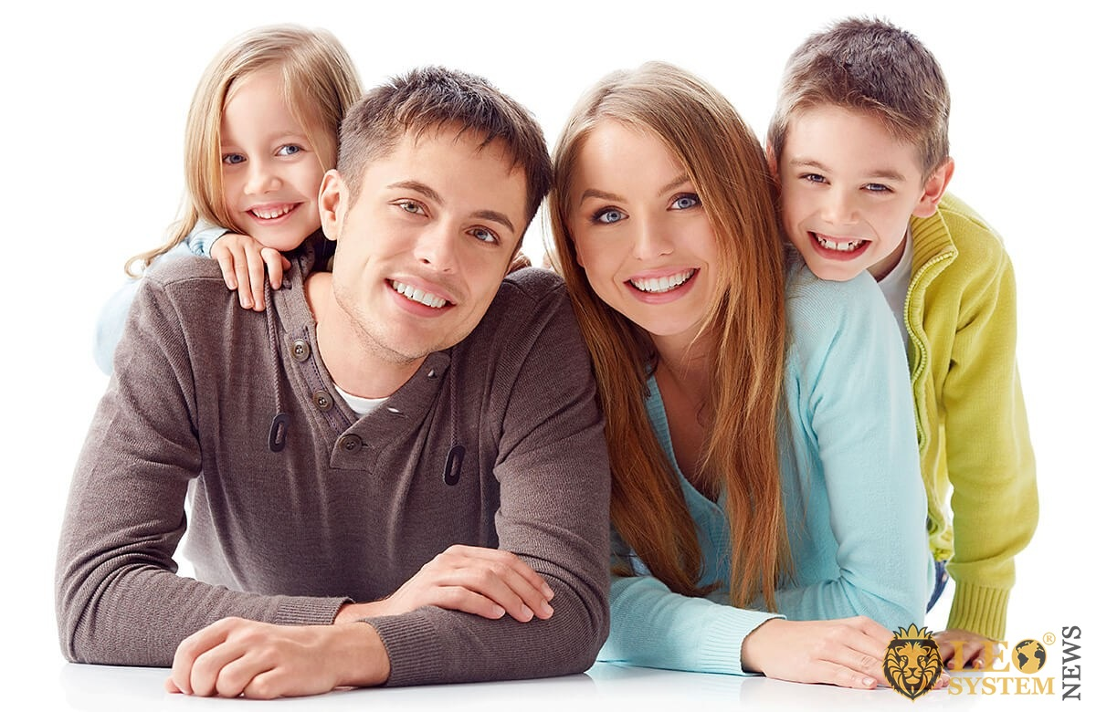 Happy family and children