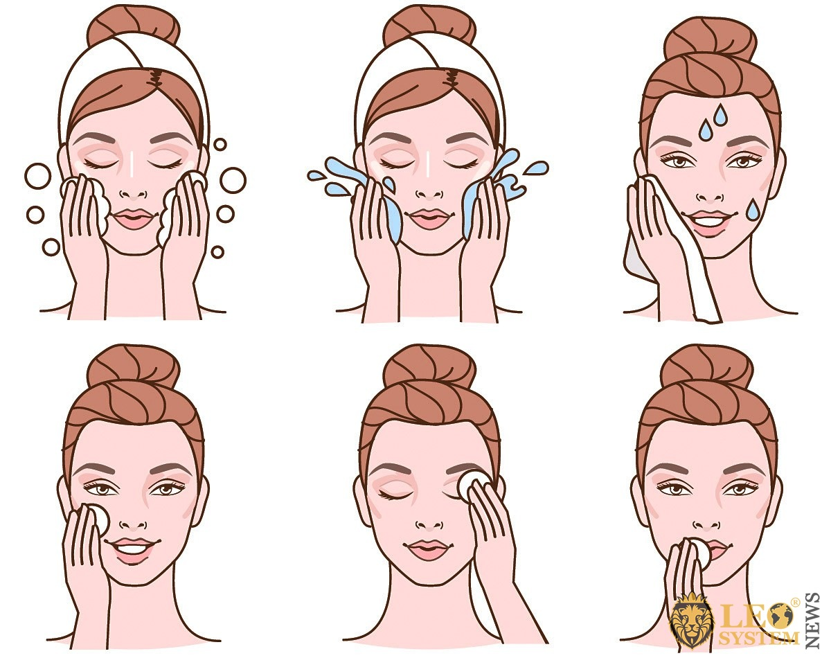 Image of the drawn steps for taking care of your face