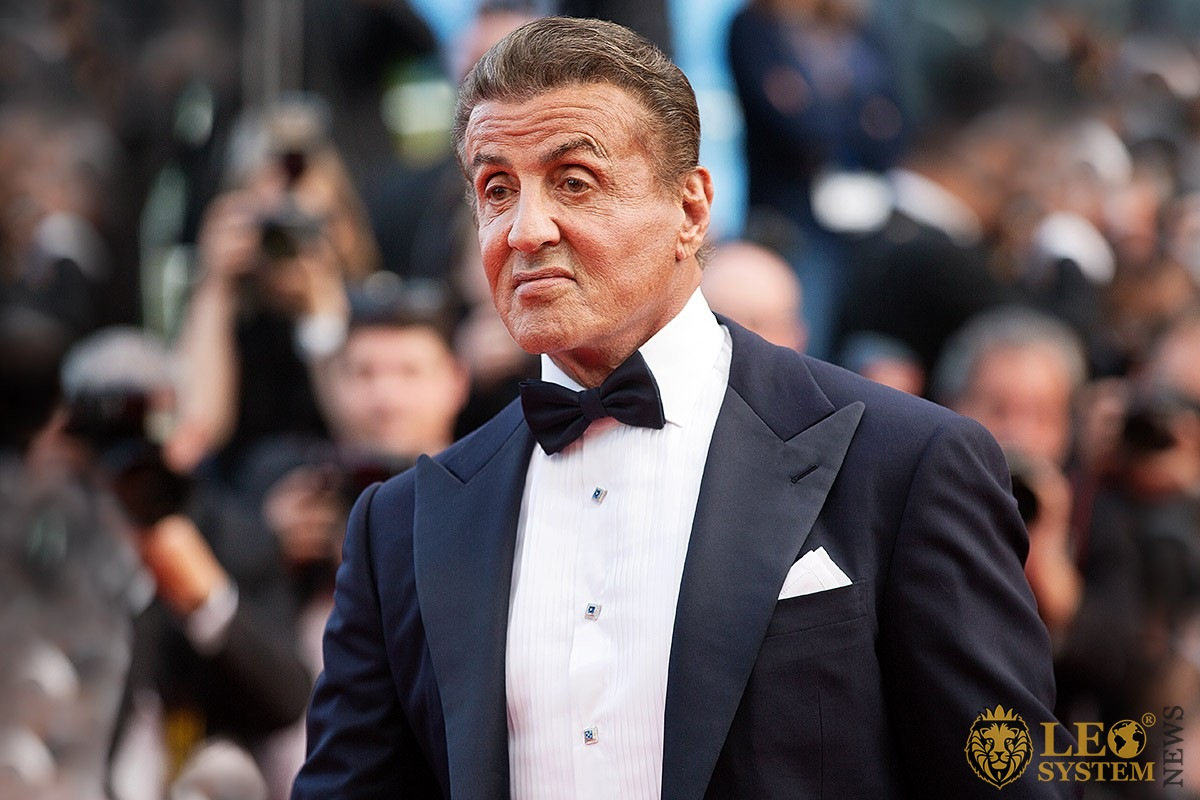 The piercing look of the great American actor Sylvester Stallone