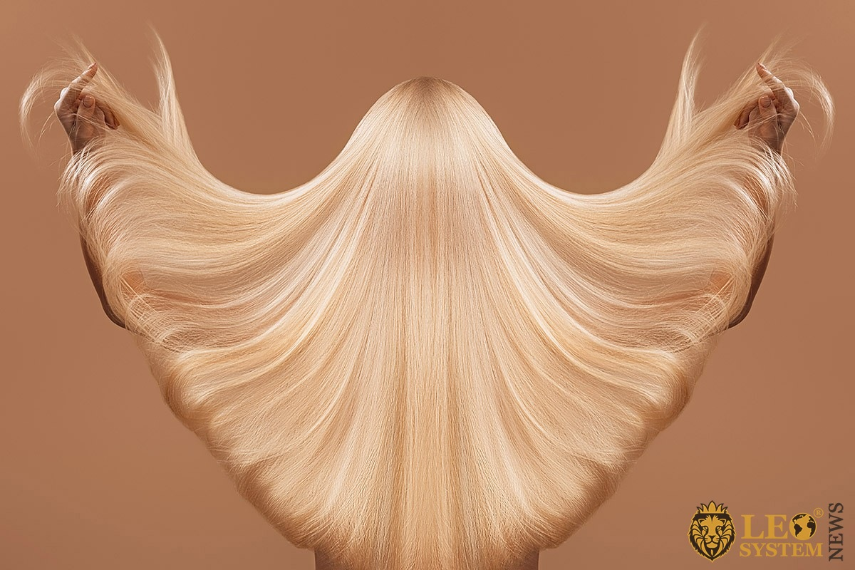 Girl with very long and loose hair