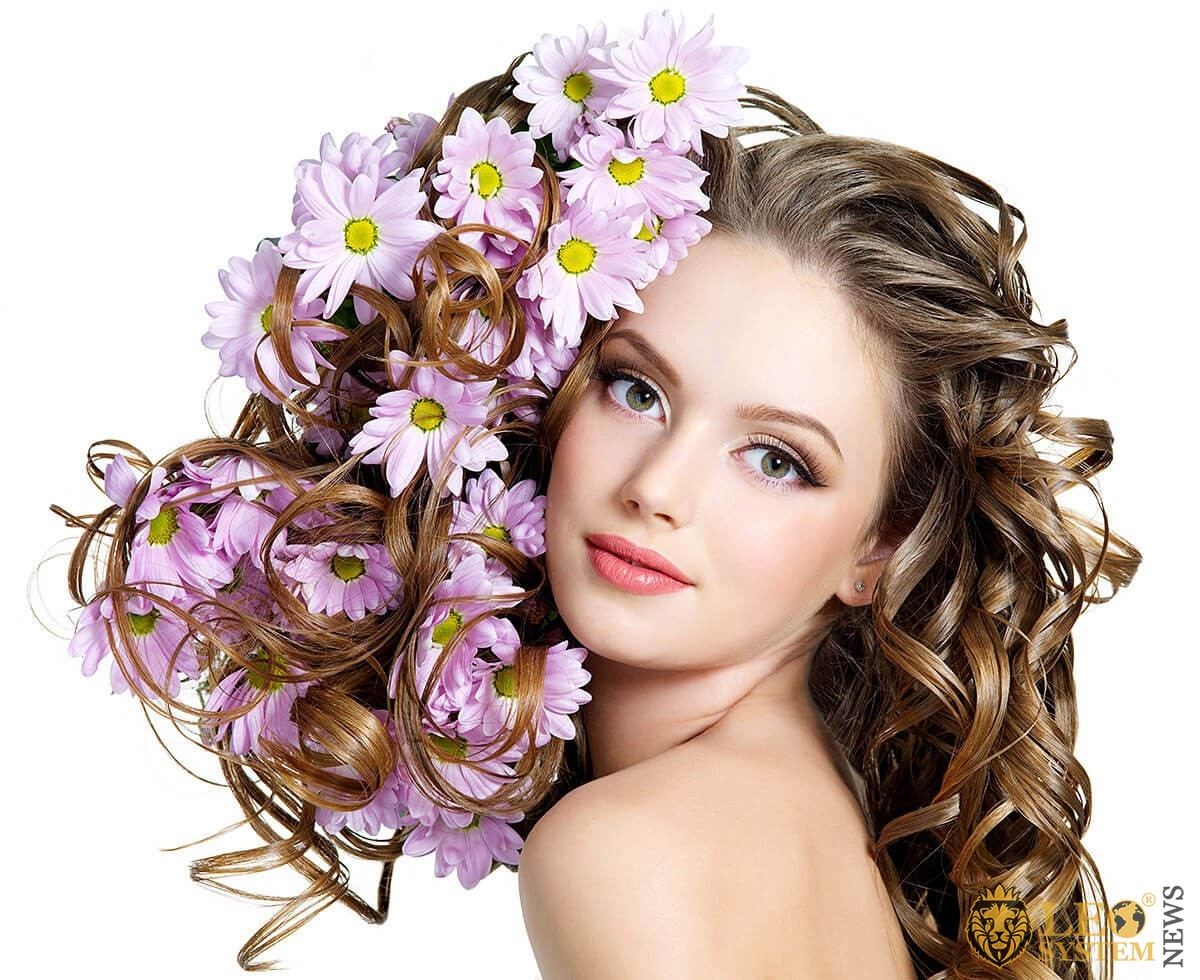 Image of a cute girl with flowers in her hair