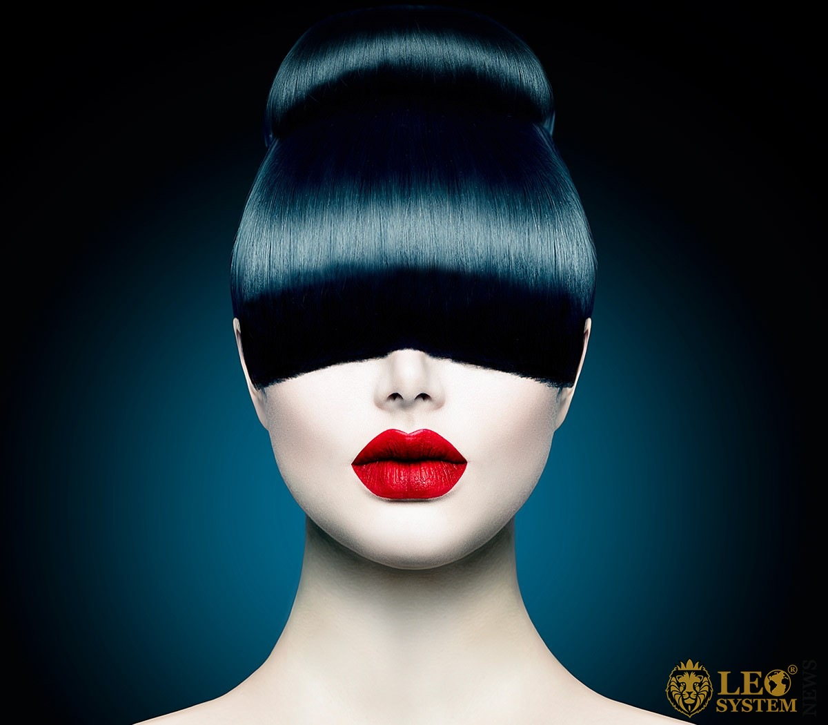Image of a woman with red lips and hair covering her eyes