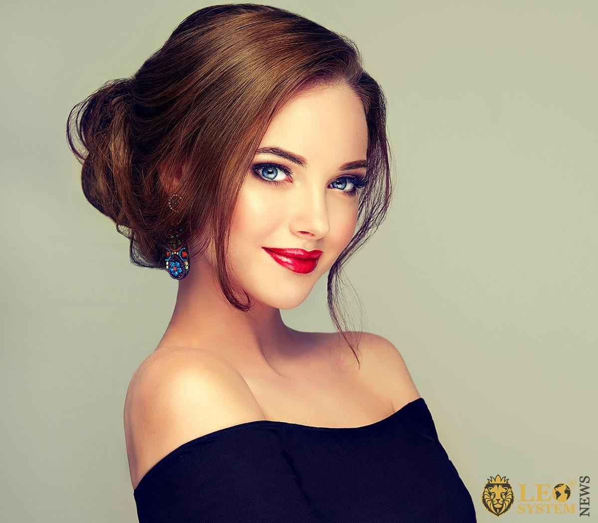 Image of a beautiful girl with evening makeup