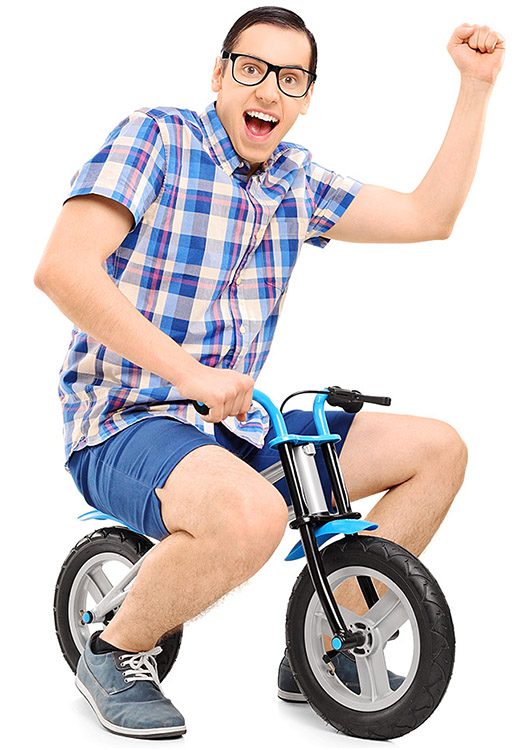 Cheerful man on a bicycle for children