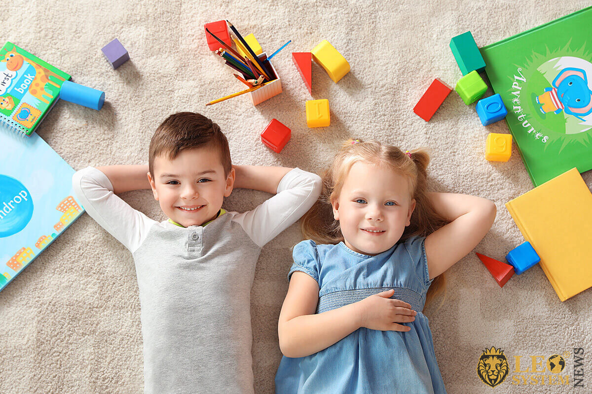 Image of happy children with toys