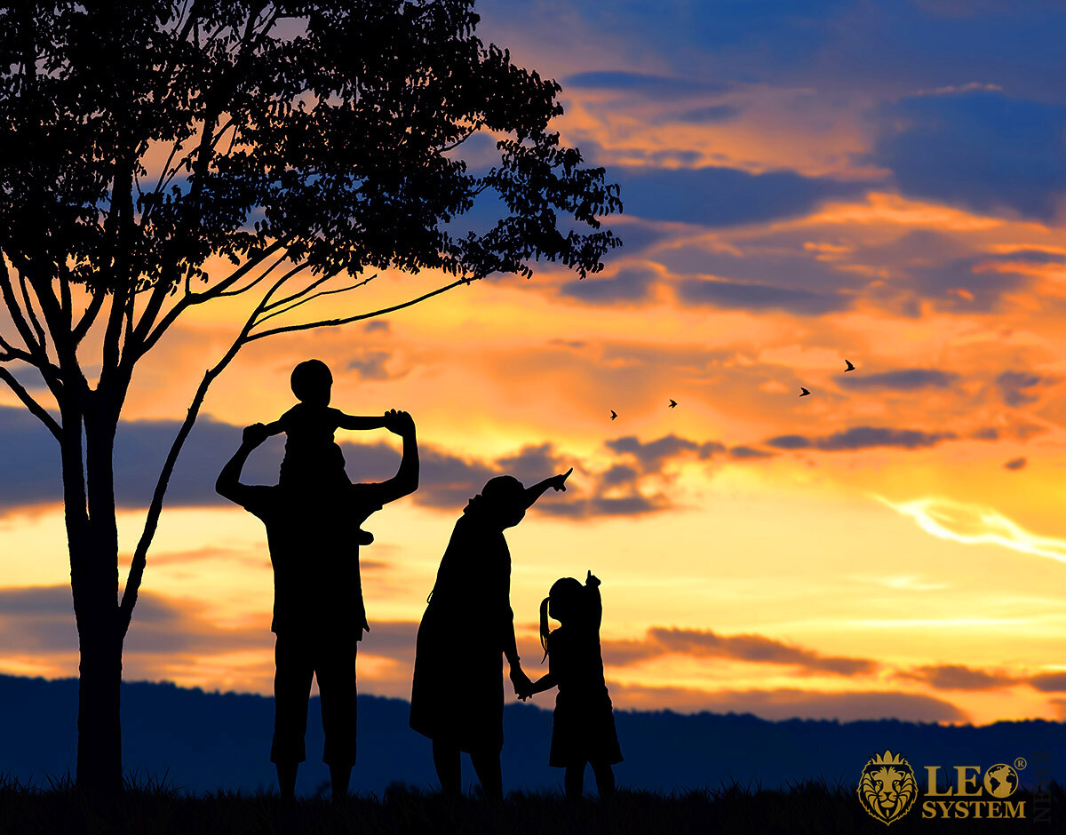 Parents and children watch flying birds at sunset