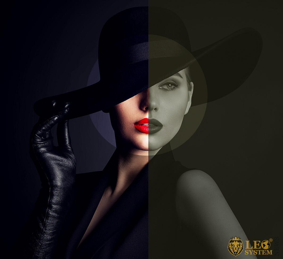 Attractive woman in a big hat and gloves