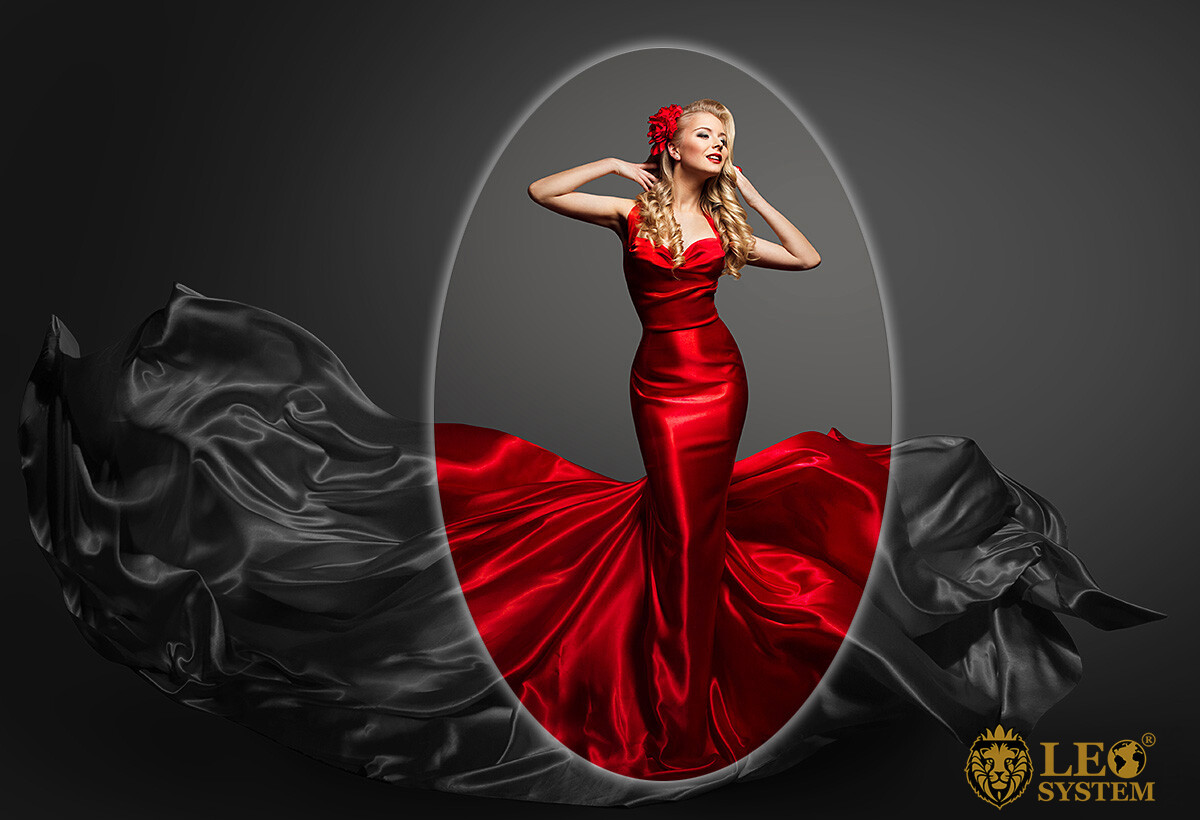 Image of a beautiful girl in a red puffy dress