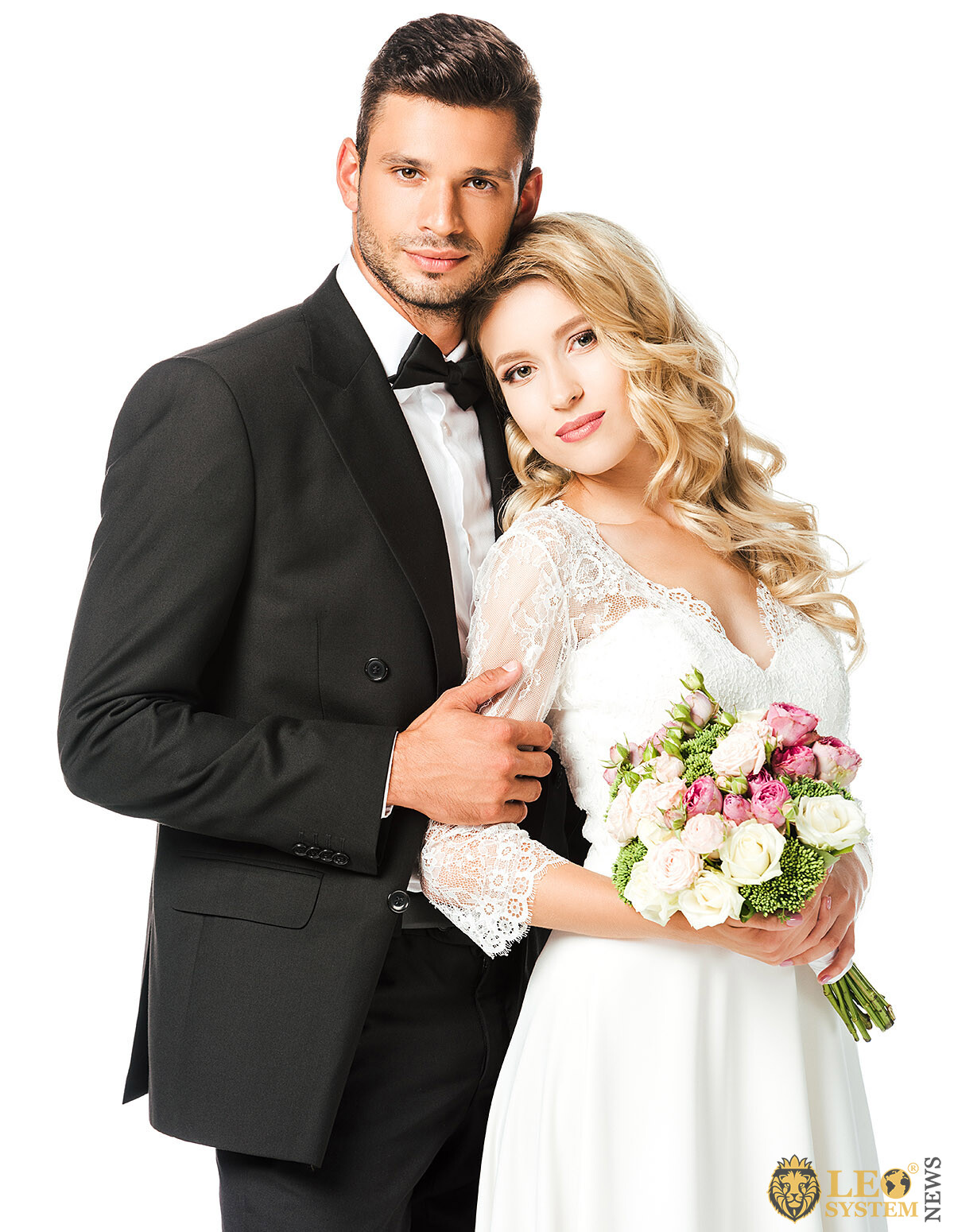 Cute married couple with a bouquet of flowers in their hands