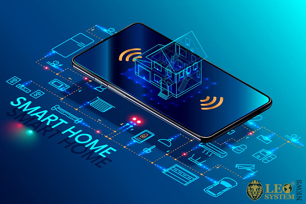 Image of a mobile phone with smart home control functions