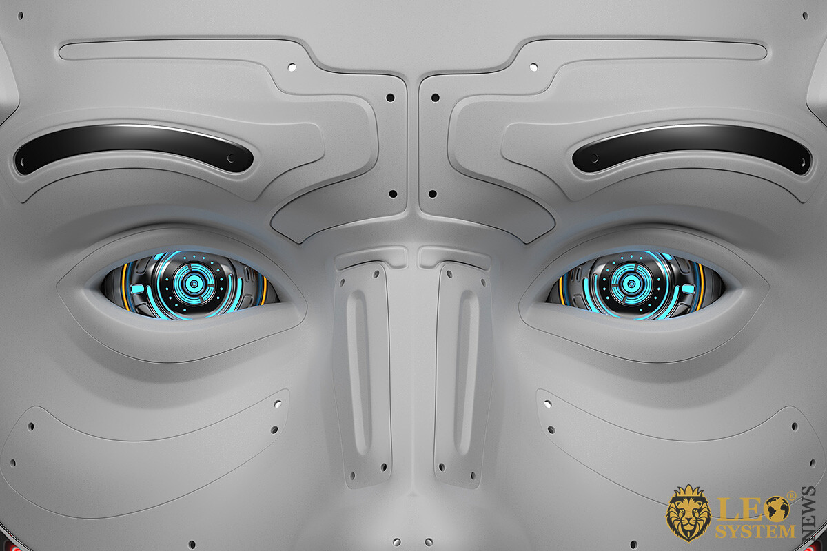 Image of a deep look of a humanoid robot