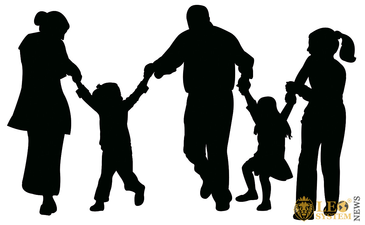 Image of children walking hands with their parents