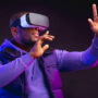 Image of a man wearing virtual reality glasses