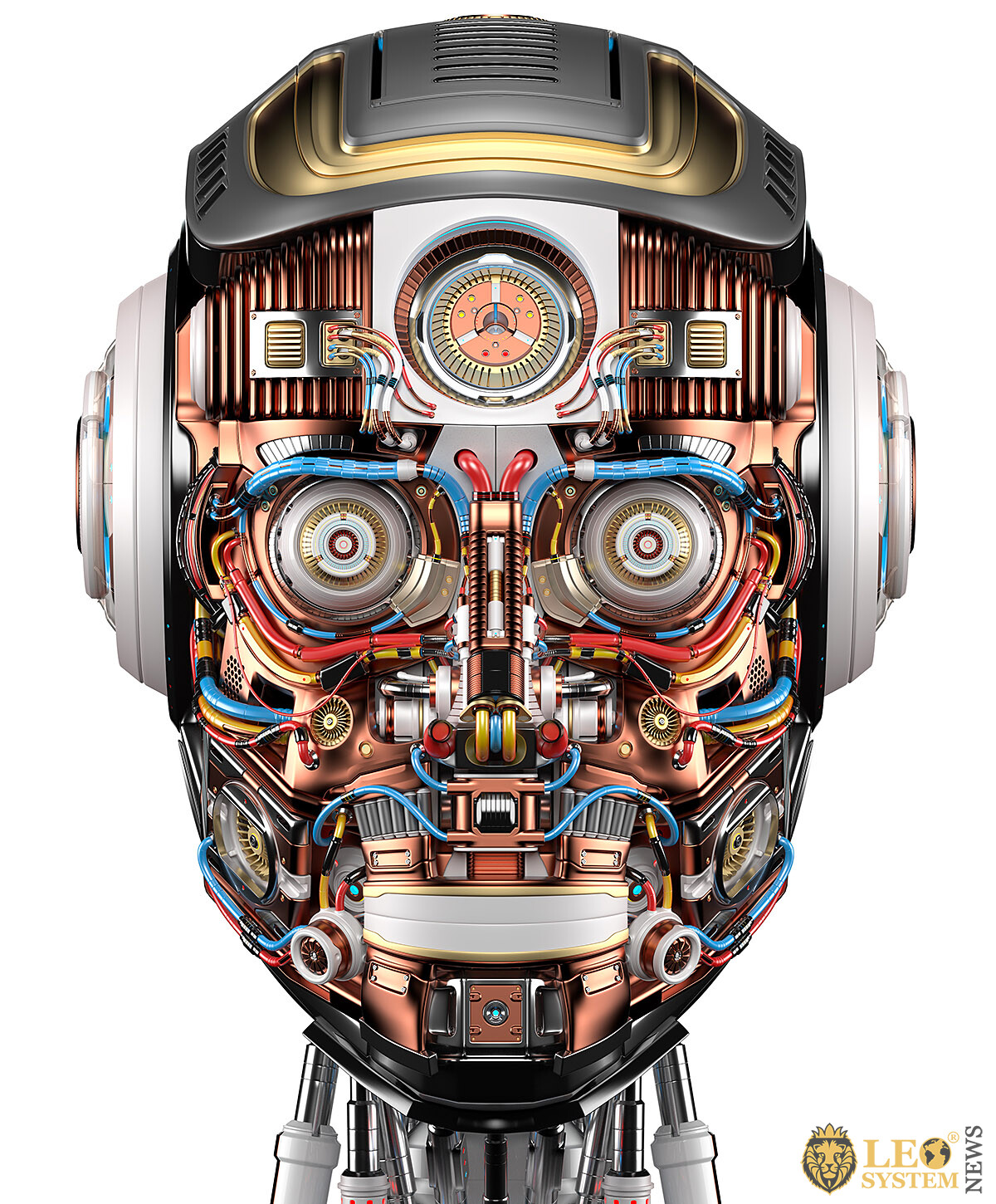 Image of the head of a fascinating robot