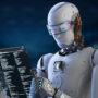 Image of a humanoid robot reading a book